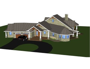 3D view of entrance to custom home design